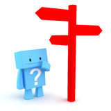 Directions post. 3D character with a question mark looking at a directions post Royalty Free Stock Images