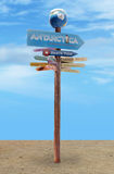 Directions road sign for places. Arrows with directions road sign for places and antarctica stock image