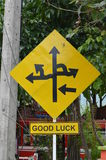 Directions on a road sign. Yellow road sign with black arrows to different directions Stock Image