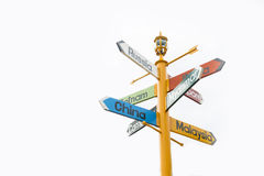 Directions Signpost To Many Different Countries Stock Photography