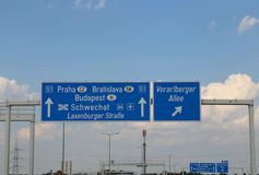 Directions to go on Budapest or Bratislava or Prague on the big. Big sign with directions to reach Budapest or Bratislava or Prague on the big highway stock images