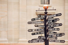 Directions to landmarks. Famous signpost with directions to world landmarks in Pioneer Courthouse Square, Portland, Oregon royalty free stock image