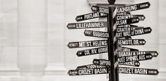 Directions to landmarks. Famous signpost with directions to world landmarks in Pioneer Courthouse Square, Portland, Oregon stock photography