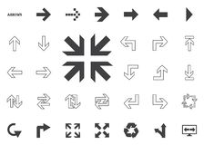 Directions to the middle. Arrow  illustration icons set. Directions to the middle. Arrow  illustration icons set Royalty Free Stock Images