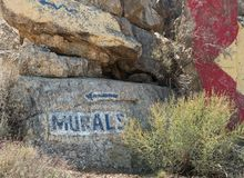 Directions to the murals. Arrows to lead you to the rock murals, Chloride, Arizona Stock Photography