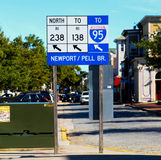 Directions to the Newport Bridge, Rhode Island Stock Photography