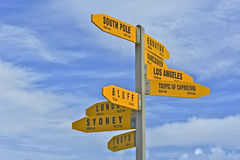 Directions to the world, Cape Reinga Stock Image