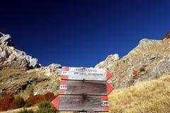 Alpi Apuane, Massa Carrara, Tuscany, Italy. Signposts indicating stock photos