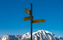 Directions where to go in mountains in front of blue sky, summer Stock Photo