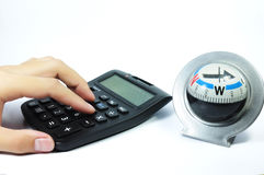 Directions for your business. Calculator mean business compass mean direction Stock Photos
