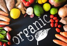Directly above closeup of fresh organic vegetables and fruits on on slate background with word ORGANIC. Top view closeup shot of fresh organic vegetables and Royalty Free Stock Photography