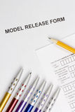 Model Release Form. Directly above photograph of a model release form Royalty Free Stock Images