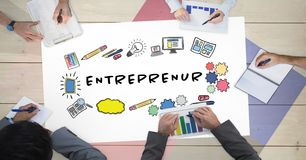 Directly above shot of business people working at table with entrepreneur chart Royalty Free Stock Photos