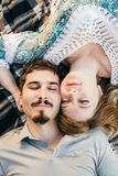 Directly above shot of young couple Royalty Free Stock Images