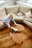 Lady keeping clean at home royalty free stock photo