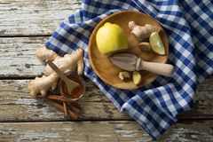 Directly above view of various food with checked napkin on table Royalty Free Stock Photo