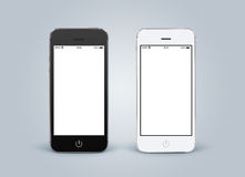 Directly front view of black and white smartphones with blank sc. Reenon gray gradient background. High quality royalty free stock photos