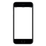Directly front view of a modern black mobile smart phone. Mockup with blank screen isolated on white background. High-quality studio shot stock photos