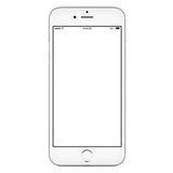 Directly front view of white mobile smart phone mockup. Directly front view of a modern white mobile smart phone mockup with blank screen isolated on white Stock Photo
