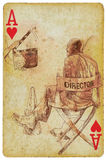 Director. The film environment: Director and clapperboard. /// Vintage (in the grunge-retro style) drawing drawn on the old playing card, the ace of hearts Stock Photos