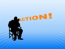 Director. Illustration of a person sitting in a directors chair holding a megaphone and shouting action Royalty Free Stock Photos