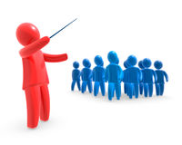 Director. Red figure directing the grup of blue figures. Concept of leading the team Royalty Free Stock Photo