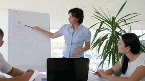 Director Advises con el grupo de colaboradores sobre negocio y la discusión del desarrollo de la carta en la sala de reunión almacen de video
