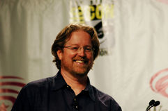 Director Andrew Stanton. Smiles as he answers fan questions during Pixar's WALL-E panel at San Francisco's WonderCon Royalty Free Stock Images