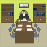 The director, the boss behind a desk in the office. The interior of the working cabinet in the office. Vector illustration Royalty Free Stock Photos
