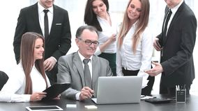 Director and business team looking at laptop screen. Office weekdays royalty free stock photos