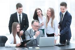 Director and business team looking at laptop screen. Office weekdays stock image