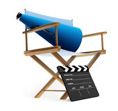 Director Chair. With clap board and megaphone.  Isolated against a white background Royalty Free Stock Photography
