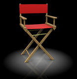 Director chair. 3d illustration of director chair, red color, over black background Stock Photography