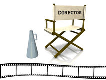 Director chair. A director chair with a megaphone beside it and a film strip at the bottom Stock Photos