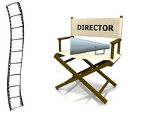 Director chair. A director chair with a megaphone on it and a film strip at the left side Royalty Free Stock Image
