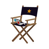 Director chair cinema movie design. Director chair film 3d glasses cinema movie entertainment show icon. Flat and Isolated design. Vector illustration Royalty Free Stock Photos