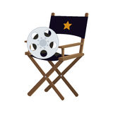Director chair cinema movie design. Director chair film reel cinema movie entertainment show icon. Flat and Isolated design. Vector illustration Royalty Free Stock Photo