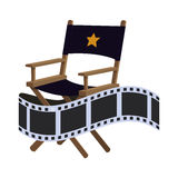Director chair cinema movie design. Director chair film strip cinema movie entertainment show icon. Flat and Isolated design. Vector illustration Stock Images