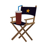 Director chair cinema movie design. Director chair soda film cinema movie entertainment show icon. Flat and Isolated design. Vector illustration Stock Photography