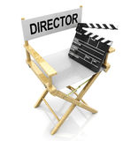 Director chair and clapboard. 3d illustration of white director chair with black clapboard Royalty Free Stock Images
