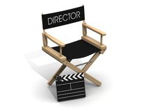 Director chair with clapperboard. Director chair with clapboard over white stock illustration