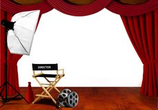 Director chair and equipment standby for audition on stage royalty free stock images