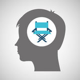 Director chair film silhouette head think movie. Vector illustration eps 10 Stock Image