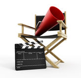 Director chair, film slate and load horn.  Royalty Free Stock Image