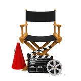 Director Chair and Filmmaker Equipment. Isolated on white background. 3D render Royalty Free Stock Photos