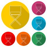 Director chair icon, color icon with long shadow. Simple vector icons set Royalty Free Stock Photos