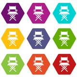 Director chair icons set 9 vector. Director chair icons 9 set coloful isolated on white for web Royalty Free Stock Photos