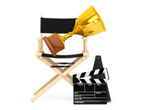 Director Chair, Movie Clapper and Megaphone with Golden Trophy. Director Chair, Movie Clapper and Megaphone with Golden Trophy on a white background. 3d Royalty Free Stock Images