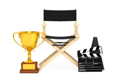 Director Chair, Movie Clapper and Megaphone with Golden Trophy. Director Chair, Movie Clapper and Megaphone with Golden Trophy on a white background. 3d Royalty Free Stock Photography
