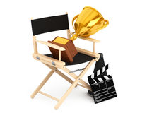 Director Chair, Movie Clapper and Megaphone with Golden Trophy. Director Chair, Movie Clapper and Megaphone with Golden Trophy on a white background. 3d Stock Photo